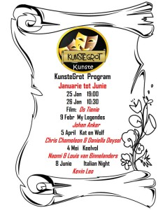 KunsteGrot program Jan tot Jun